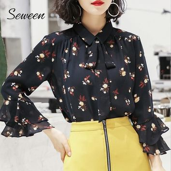 Print Chiffon Ruffle Flare Sleeve Ladies With Bow Tie Blouse