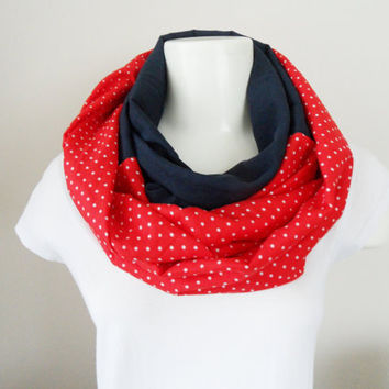 infinity scarf, scarf, Neck warmer, polka dots, navy blue and red scarf