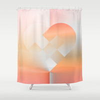 Danish Heart Coral Shower Curtain by Gréta Thórsdóttir #heart #holiday #Christmas #coral #ombre #love