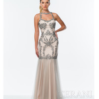 Silver & Nude Modified Halter Mermaid Gown