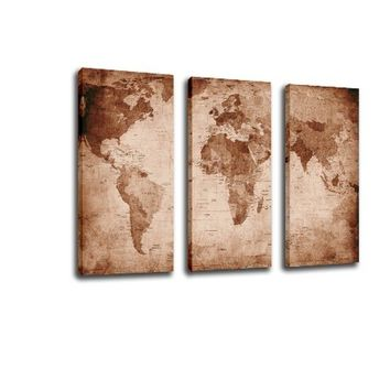 Without Frame Decor Canvas Painting Wall Pictures 3 Panels Wall Art The Retro World Map Canvas Art Home Decor Modern Huge Pictur