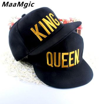 KING QUEEN Embroidered Snapback Caps Lover Men Women Baseball Cap Black Hip Hop Cap Snapback hats chapeau bone masculino 2018
