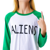 Lazy Oaf Aliens Baseball Tee White Small