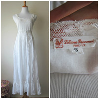 Vintage Liliana Panconesi White Cotton Nightgown, Romantic Italian Lingerie