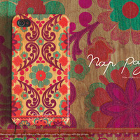 Apple iphone case for iphone iphone 5 iphone 4 iphone 4s iPhone 3Gs :Abstract floral pattern on wood(not real wood)