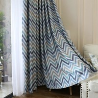 Mediterranean style waves blackout children curtains panels for bedroom