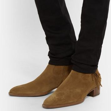 Wakeby Wolf Fancy Brown Ankle Suede Fringed Zipped Boots