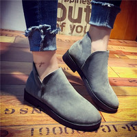 Brand Autumn Winter Women Suede Boots Rubber Shoes For Woman Casual Ankle Boots Flats Heels female Slip on Oxfords Retro