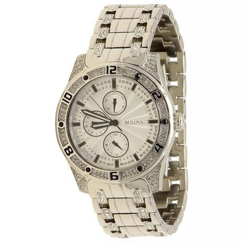 Bulova Men's 96C106 Silver Crystal Stainless Steel Analog Watch (Size: Men's Standard, Color: Silver With Crystal Accent)