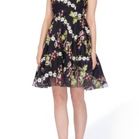 Tahari Embroidered Fit & Flare Dress (Regular & Petite) | Nordstrom