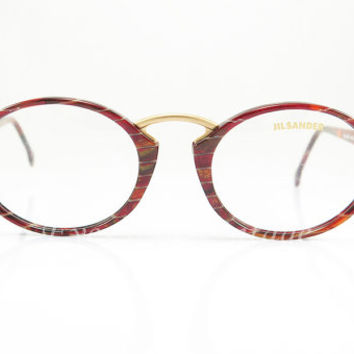 Jil Sander , Vintage Eyeglasses , Red Mosaic , Oval , Keyhole Nose Bridge , Artistic , Hipster , Sunglass Frames , New Old Stock