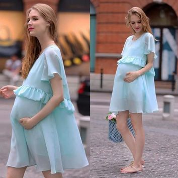 New Women Light Blue Draped Ruffle Round Neck Flowy Maternity Sweet Midi Dress