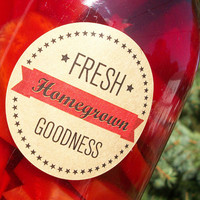 Fresh Homegrown Goodness KRAFT paper Canning jar labels, 2 inch round stickers for mason jars, fruit  and vegetable preservation