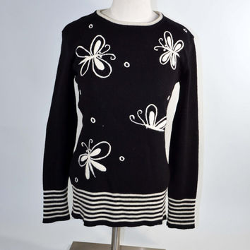 Vintage 60s Black & White Butterfly Sweater/ Mod Hippie Fantasy Pullover Sweater S/XS