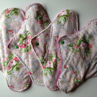 4 Cloth Pads with Spring Flowers, menstrual pad, mama pad