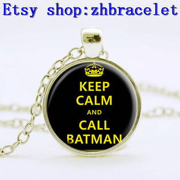 Necklace,Keep Clam and Call Batman necklace, silvery pendant,Art pendant ,vintage peantant,