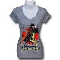 Gambit and Rogue Forever Women's V-Neck T-Shirt
