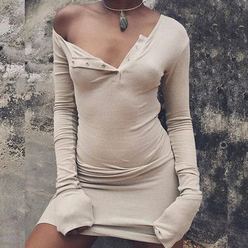Sexy One Shoulder Women Bodycon Sweater Dress Long Sleeve Button Knitted Cotton Tight Short Party Dresses