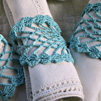 Crochet Turquoise Aqua Pineapple Pattern Napkin Rings--Set of 8