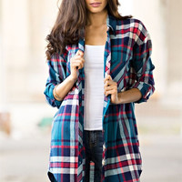 Blue Oversized Tunic Plaid