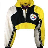 Reworked Vintage Cropped Steelers Pro Player Pullover