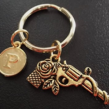Gun and roses keyring, keychain, bag charm, purse charm, monogram personalized item No.508