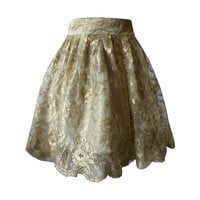 Gianni Versace Couture Tiered Gold Lace Overlay Evening Skirt Spring 1992