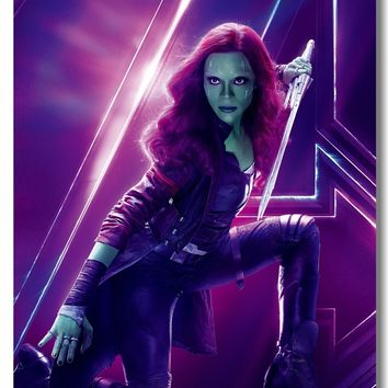 Custom Canvas Wall Decorations Avengers Infinity War Poster Gamora Nebula Mantis Stickers Office Decals Marvel Wallpaper #0327#