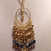 Gold Chandelier Black Spinel Pendant,  Original Jewelry, Handmade, 14k Gold jewelry & Genuine Gemstones.