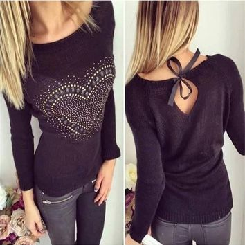 Casual Black Love Print Cut Out Bow Tie Back Fashion Pullover Sweater