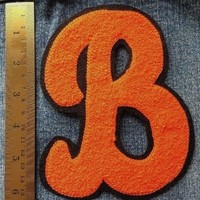 Initial B Chenille Patch Letter Orange Black VTG Letterman Sew On Embroidered B