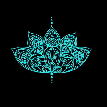 Lotus Flower Intricate Vinyl Decal car truck auto vehicle window laptop computer custom decal sticker Boho Decal