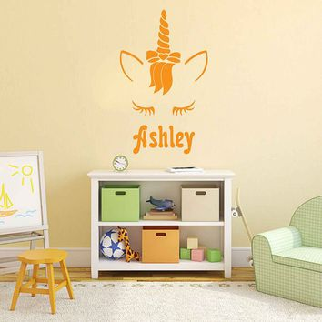 Unicorn wall decal girls name personalized unicorn wall decal unicorn monogram wall decal ik3471