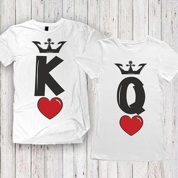 Summer Fashion KING QUEEN Red heart Letters Print T-Shirt Men Women Matching T Shirt Casual Funny Couples Lover Couple T Shirt