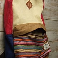 Folk Style Stripe Print Canvas Backpack