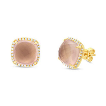 0.17ct Diamond & 6.48ct Rose Quartz 14k Yellow Gold Stud Earring