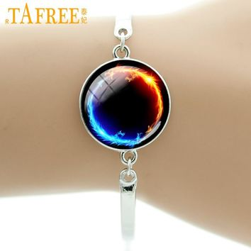 TAFREE Brand Chakra hot Energy Healing Religion jewelry yin yang Fire Dragon art galaxy nebula bracelet for men and women B666
