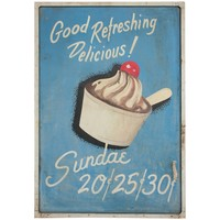 Vintage Folk Art Hand-Painted Sundae Sign