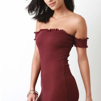 Ribbed Knit Ruffle Trim Bardot Mini Bodycon Dress