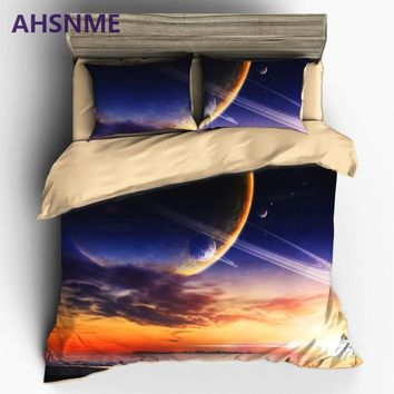 AHSNME HD 3D Mysterious Galaxy Bedding Sets Universe Outer Space Themed Duvet Cover Set Bed sheet Pillowcase AU King Queen Size