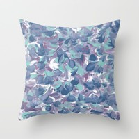 Floral Water Throw Pillow by Kat Mun