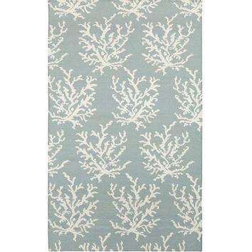 Light Blue Coral Flat Weave Rug