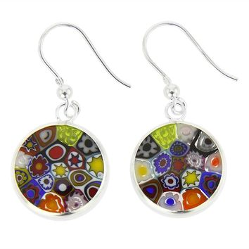GlassOfVenice Murano Glass Millefiori Round Dangle Earrings - Silver