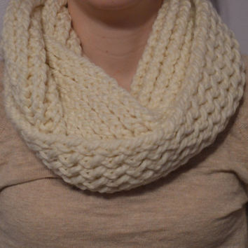 Knitted Infinity Scarf - Cream