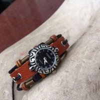Wrist Watch Handmade Wristwatches Vintage Ladies Girls Womens Mens Leather Bangle Beaded Bracelet Quartz (GA0030)