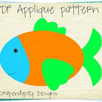 Fish Applique Pattern - Ocean Applique Template / Fish Quilt Pattern / Fish Applique Shirt / Ocean Nursery Wall Decor / Digital AP267-D