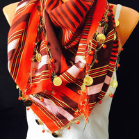 Red stripped traditional scarf shawl bohemian scarf women accesories summer spring scarf boho scarf gypsy scarf stripped coins scarf moder