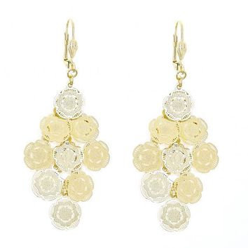 Gold Layered 5.082.012 Chandelier Earring, Flower Design, Diamond Cutting Finish, Gold Tone