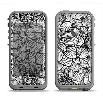 The White and Black Flower Illustration Apple iPhone 5c LifeProof Fre Case Skin Set