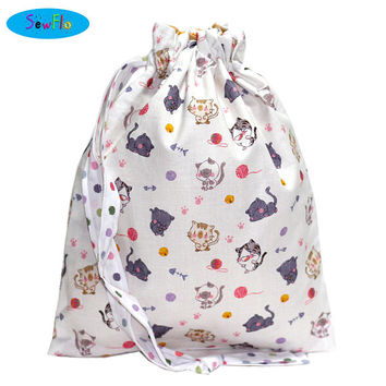 NEW! Cats Knitting Project Bag-Chibi Knitting Bag-Yarn Drawstring Bag-Cats and Yarn Knitting Bag